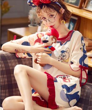 【パジャマ】爽やか普段着セットアップTシャツボトムスカジュアル系夏