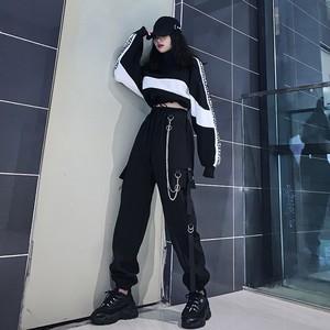 【ボトムス】設計感ありストリート系ベルト付きファッションカジュアルパンツ+パーカー37082406