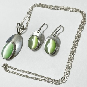 Vintage Harry's Sterling Green Cat's Eye Cabochon Pirced Earrings & Pendant Necklace