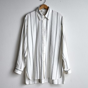 山内 コットンキュプラ ストライプシャツ (羽襟付き)  white