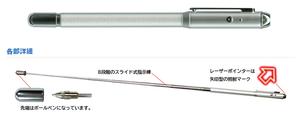 赤色レーザーポインター+指示棒+ボールペン LIC-480