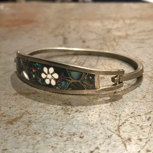 """vintage """"flower×butterfly"""" silver bangle"""