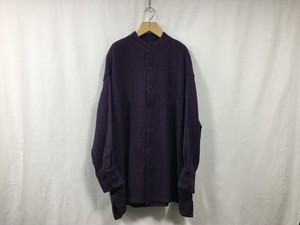 "HOMELESS TAILOR""STAND COLLAR SHIRT MIX BLUE"""