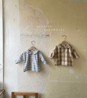 『翌朝発送』check sailor blouse〈monbebe〉