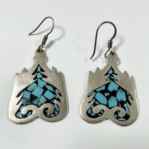 Vintage Inlaid Crushed Turquoise 925 Silver Pirced Earrings Made In Mexico