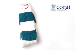 コーギー|corgi|ソフトコットンカジュアルソックス|靴下|ボーダー柄|グリーン×ホワイト|CGM684241