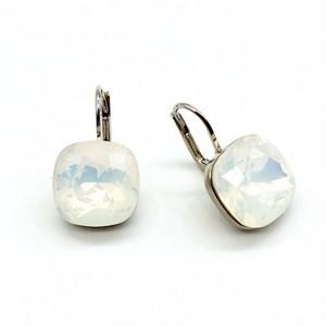 ピアス スクエア 一粒石 ホワイト オパール KRiKOR ドイツ製 Pierce One Square Stone White Opal