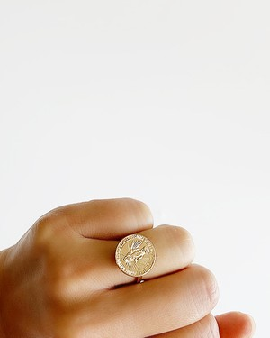 Maria  gold coin Ring /  on the beach     OBH-025
