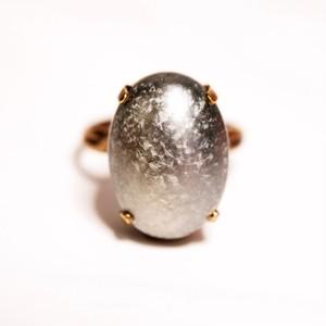 シルバームーン  ヴィンテージガラスリング(指輪)