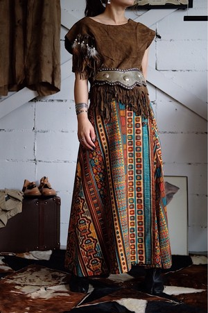 Ethnic printed wrap skirt