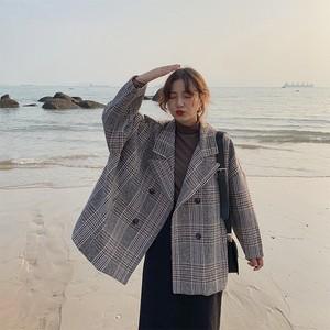 【アウター】新作チェック柄合成繊維長袖ファッションコート