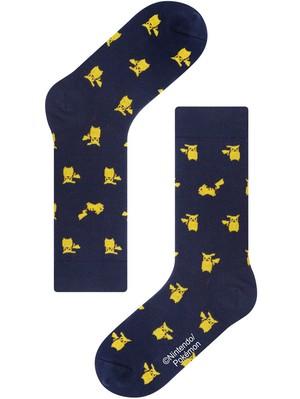 ※再入荷未定【Pocket Monsters socksappeal】Pikachu - Navy【ポケットモンスターソックスアピール】ピカチュウ-ネイビー