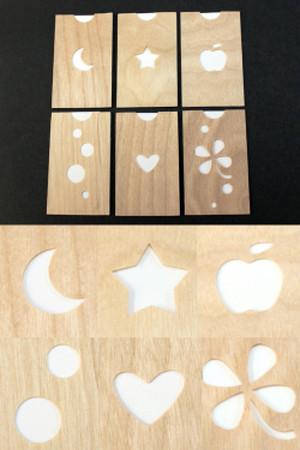 香りのカード (星・月・りんご・丸・ハート・四つ葉のクローバー)