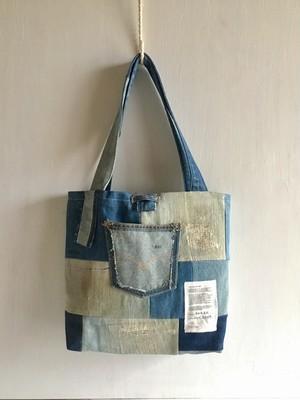 tote bag/ヴィンテージ デニムパッチワークのトートバッグ    ■tf-305