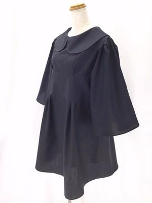ハイウエスト&フレアスカートが作る後ろ姿がキュートな、着ると可愛い おしゃれなベルスリーブ丸襟リトルブラックドレス(贅沢サテンドレス付) 一点もの 手作り ショート丈 通勤 通学 万能