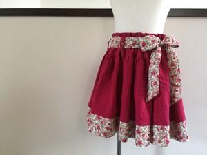 【110】ハーフリネン(綿麻) ふんわり赤ギャザースカート リボンベルト付き