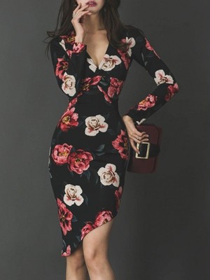【dress】Beautiful silhouette slim sexy floral pattern dress