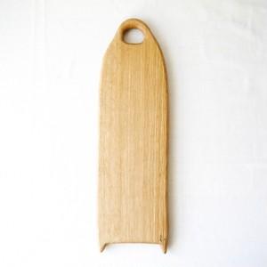 カッティングボード Mロング(ナラの木) エゴマ油仕上げ (41.5×12.6)