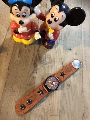 mickey レザー時計
