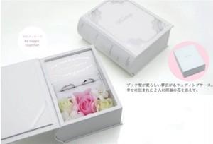 ブライダルリングケース ブック型スクエア メッセージ刻印入り 造花付き エンゲージ・マリッジ兼用 6個入り TBBR-015