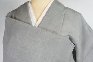未使用【夏】江戸小紋 市松 高島屋謹製 絽 色無地 正絹 錫色 グレー 515
