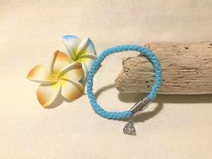 ハワイアンコード 【ブレスレット マグネット式】(ライトブルー) 海 ビーチ アジアン リゾート プレゼント  ハンドメイド