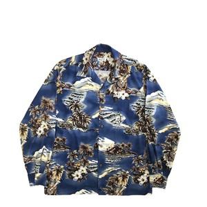 Mountain 長袖オープンアロハシャツ / Ukulele Island  / Blue