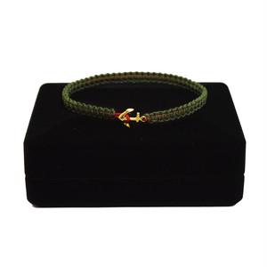 【2021SS 期間限定カラー】K18 Gold Anchor Bracelet / Anklet  Military×Red【品番 17S2010】