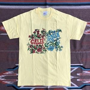 90's Hanes CALIFORNIA カリフォルニア フラワー ビンテージ Tシャツ デッドストック(イエロー,M)