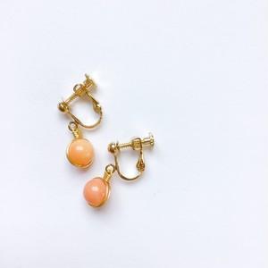 【s604】サンゴ一粒イヤリング