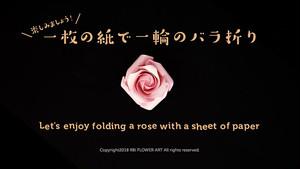 『バラ折り動画』日本語版 一枚の紙で一輪のバラの花を折る