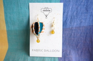 【1点モノ】FABRIC BALLOON mini フックピアス《circular》