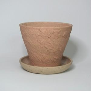 焼締め植木鉢(小)受皿付 陶器(信楽焼)製【SO-8991・9744】
