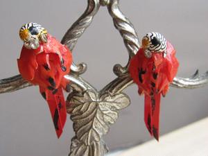 ヴィンテージイヤリング*貝殻細工の赤い鳥*シェル*1940~50's