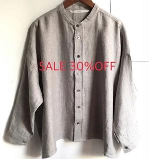 SALE30%OFF【HEAVENLY】リネンウール ヘリンボーン バンドカラー ワイドシャツブラウス グレー【ヘブンリー】