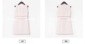 White×Pink Mixツイードワンピース