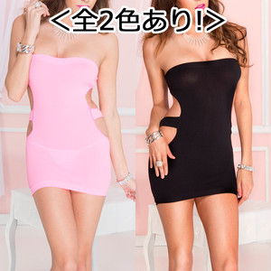 【ミニドレス】<全2色あり!>Sexyカットデザイン チューブトップミニドレス ML6780