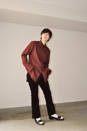 『GEN IZAWA』ロングドレスシャツ(ボルドー)