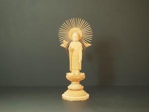 木彫り 本尊 ◆ 東阿弥陀如来 (丸台) 3.0寸