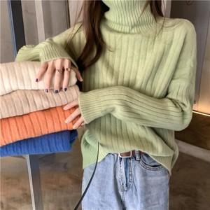 【tops】ハイネック無地シンプル合わせやすいセーター24805908