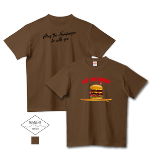 Number8 SURF CLUB(ナンバーエイト)ハンバーガーサーフィン -Are you hungry- Tシャツダークブラウン メンズ レディース キッズ(United Athle)