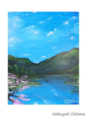 オリジナル絵画(アクリル画)「Lakeside in spring(2020)」原画(F6サイズ)【手描き/湖・湖畔・桜・春・山・自然・風景・美術品・アート・インテリア】
