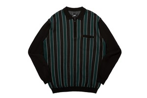 WHIMSY / STRIPED KNIT POLO -BLACK-