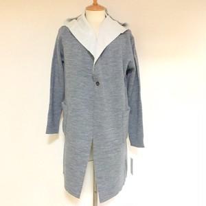 Reversible Knit Hood Coat Gray / White