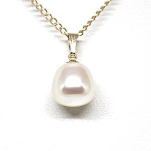 珍しい形!9.25㎜!台形のあこや本真珠のネックレス