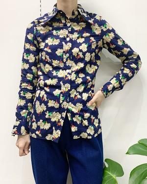 1970s flower print  cotton shirt 【40】