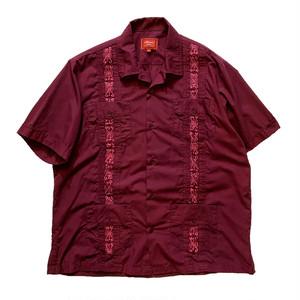 OLD Guayabera Shirt / キューバシャツ バーガンディ