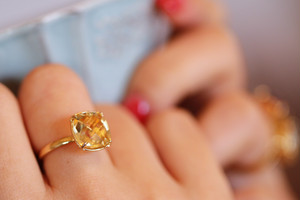 【宝石質/9〜13号】Citrine quartz ring