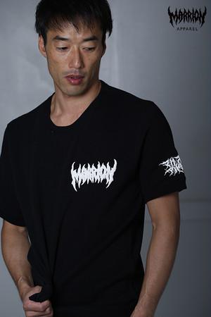 【モコモコロゴ】Death Marrion Small Logo Short Sleeved Sweatshirt (Black×White)