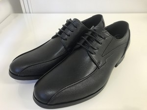 Mesh Emboss Leather Shoes Black